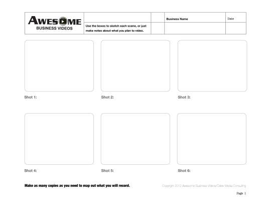 Awesome Business Videos Storyboard Template